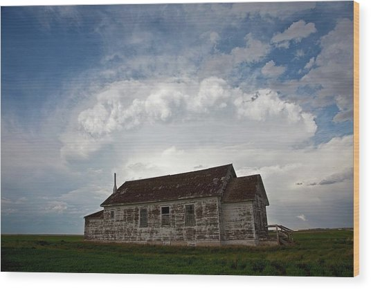 Thunderstorm Over An Old Church Wood Print