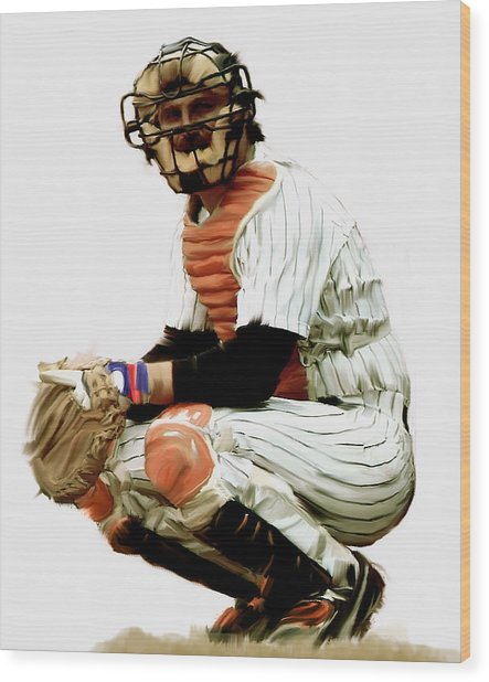 Thurman Munson  Wood Print by Iconic Images Art Gallery David Pucciarelli