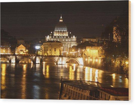 Tiber Night Wood Print