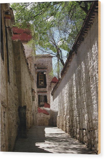 Tibet - Sera Monastery Wood Print by Jacqueline M Lewis