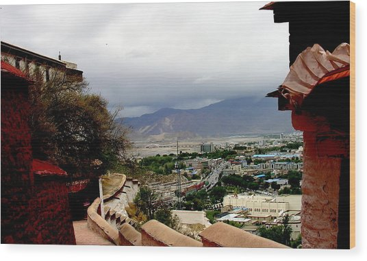 Tibet   Lhasa - Potala Palace - View Of The Dalai Lama Wood Print by Jacqueline M Lewis