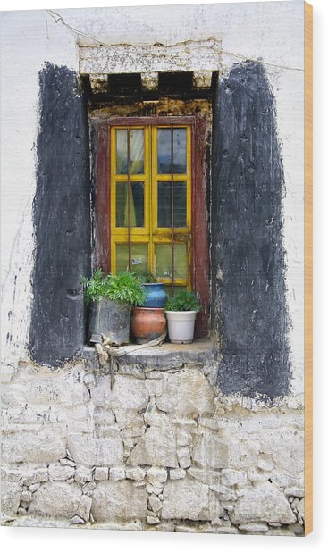 Tibet Window Wood Print