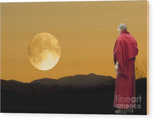 Tibetan Monk Wood Print