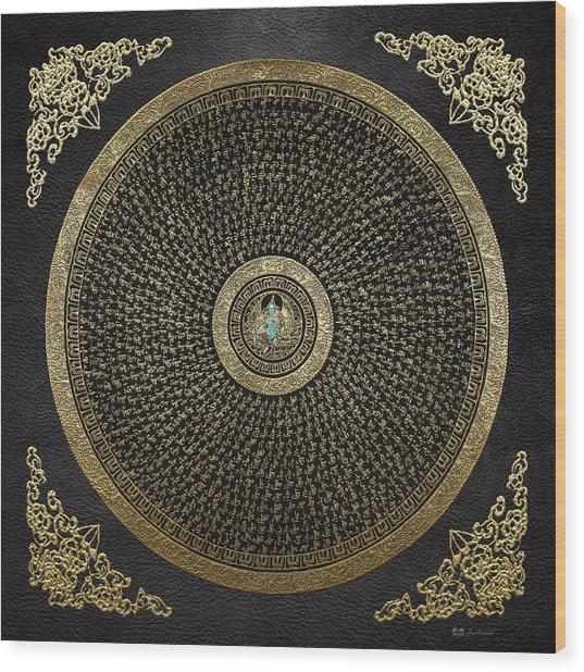Tibetan Thangka - Green Tara Goddess Mandala With Mantra In Gold On Black Wood Print