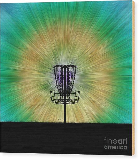 Tie Dye Disc Golf Basket Wood Print