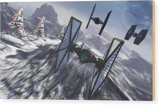 Tie Fighters On Patrol Over An Artic Wood Print