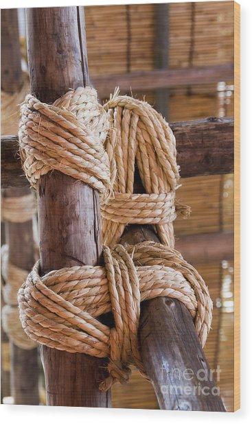 Tie Rope Wood Print by Tad Kanazaki