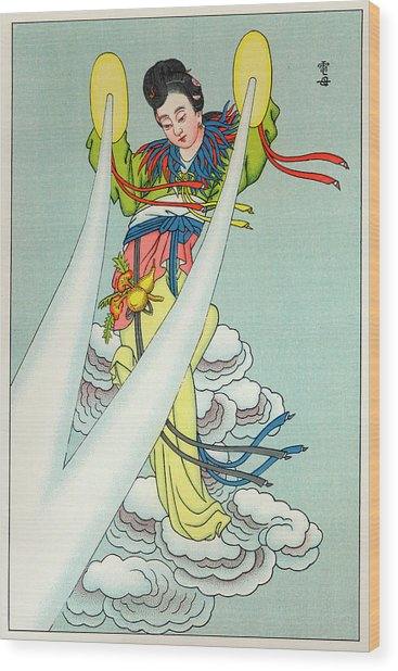 Tien-mou The Mother Of Lightning Wood Print by Mary Evans Picture Library