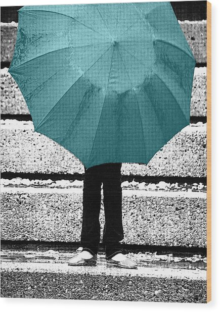 Tiffany Blue Umbrella Wood Print