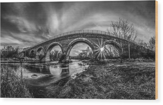 Tiffany Bridge Monochrome Wood Print