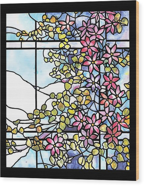 Stained Glass Tiffany Floral Skylight - Fenway Gate Wood Print
