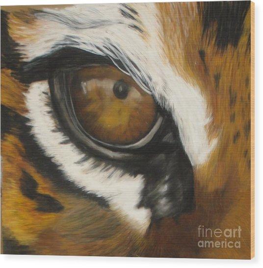 Tiger Eye Wood Print by Ann Marie Chaffin