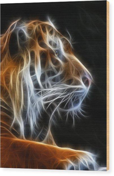 Tiger Fractal 2 Wood Print