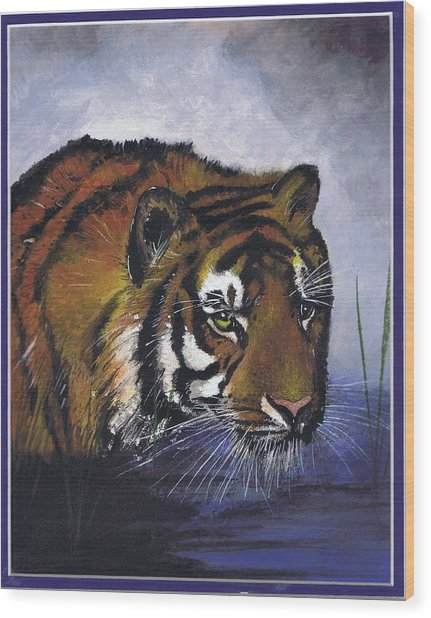 Tiger In The Water Wood Print