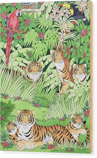 Tiger Jungle Wood Print