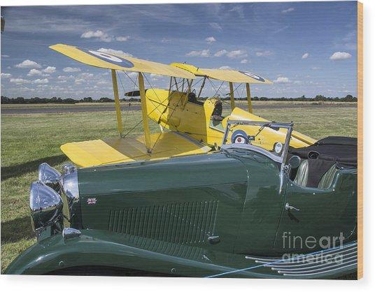 Tiger Moth And Lagonda Wood Print by Simon Pocklington