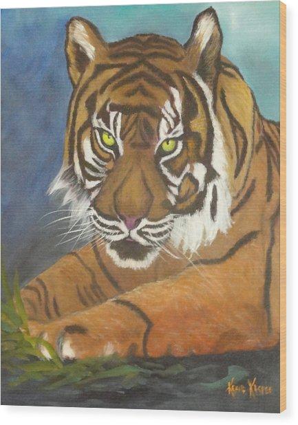 Tiger One Wood Print by  Kathie Kasper