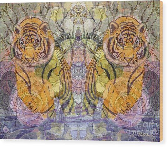 Tiger Spirits In The Garden Of The Buddha Wood Print