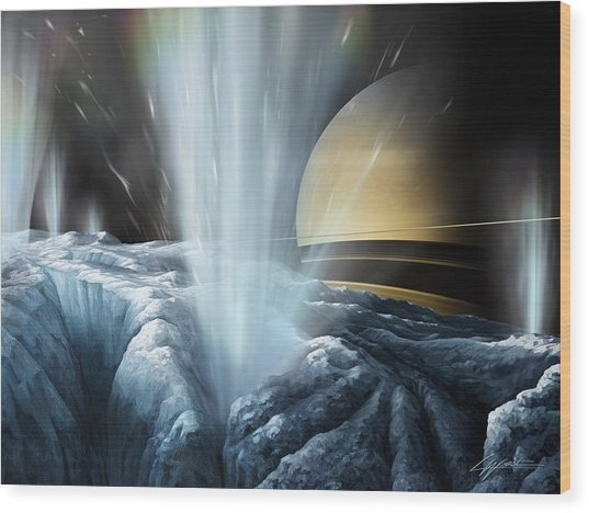 Tiger Stripes The Icy Jets Of Enceladus Wood Print