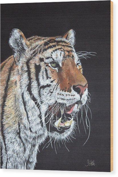 Tiger Tiger Burning Bright Wood Print by John Hebb