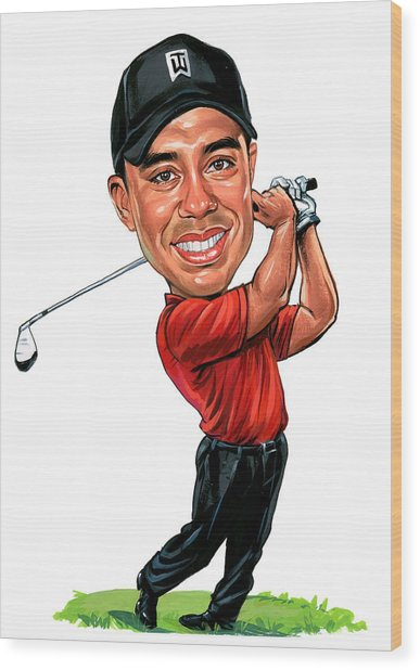 Tiger Woods Wood Print by Art