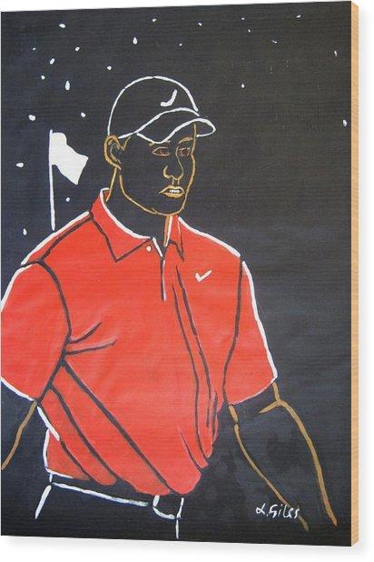 Tiger Woods Hazeltine 2009 Wood Print by Lesley Giles