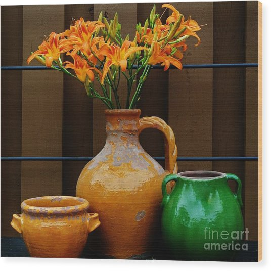Tigerlilies And Pottery Wood Print by Marsha Heiken