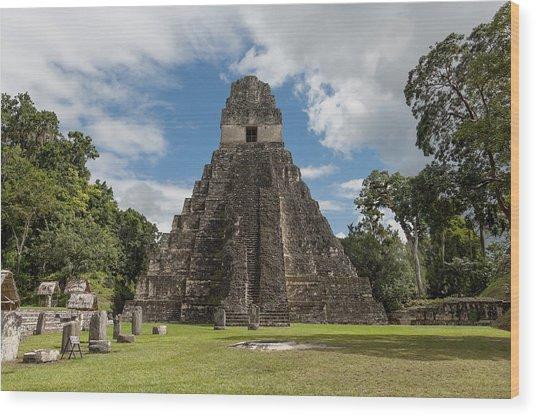 Tikal Pyramid 1j Wood Print