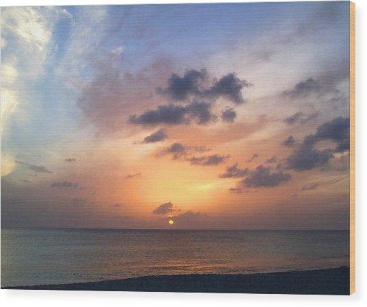 Tiki Beach Caribbean Sunset Wood Print