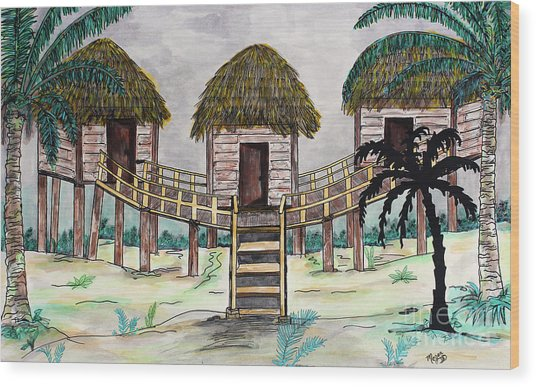 Tiki Island Wood Print