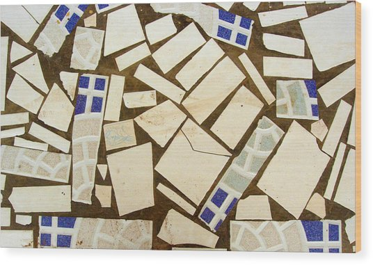 Tile Pieces In Brown Grout Wood Print