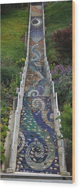 Tiled Steps Wood Print