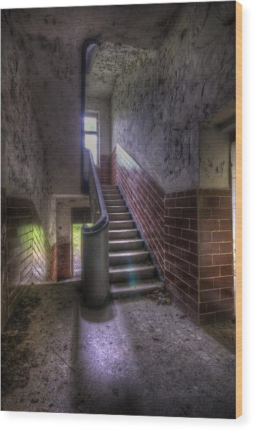 Tiles Stairs And A Window Wood Print