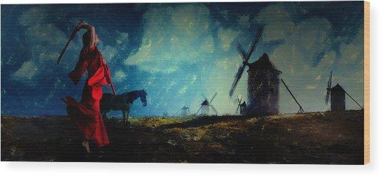 Tilting At Windmills Wood Print
