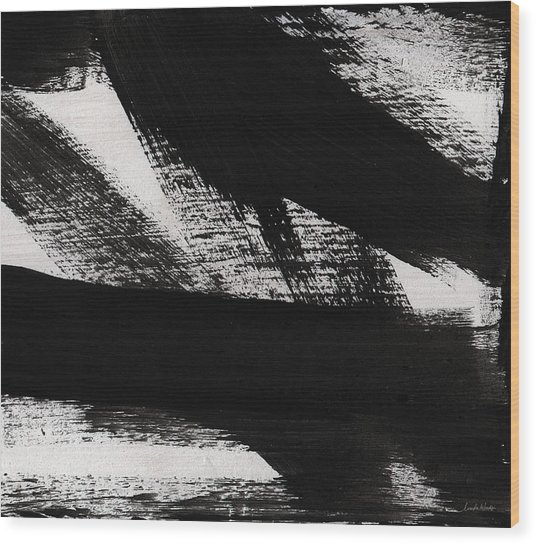 Timber 2- Horizontal Abstract Black And White Painting Wood Print