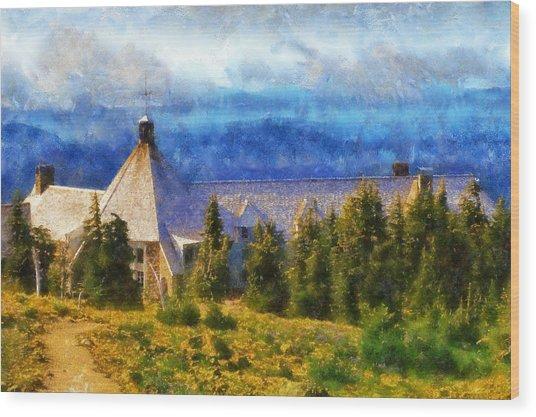 Timberline Lodge Wood Print