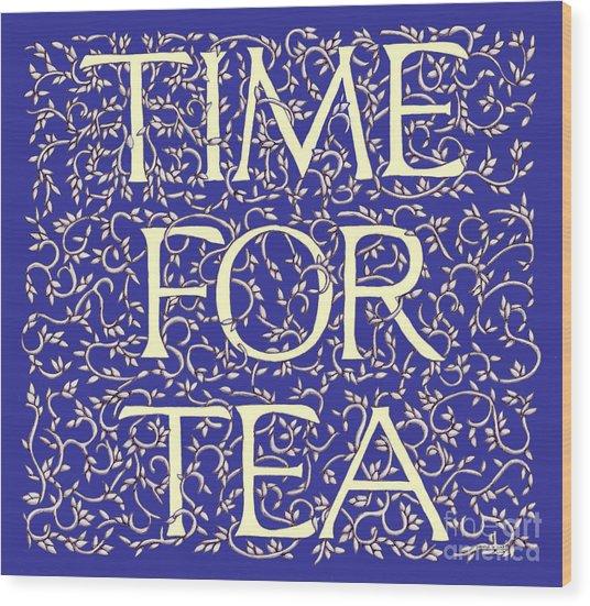 Time For Tea Royal Blue Wood Print