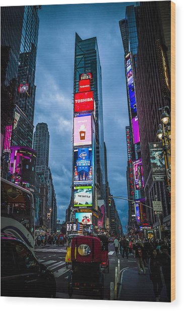 Time Square At Dusk Wood Print by Chris Halford