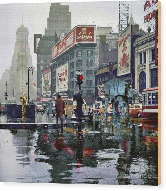 Times Square 1943 Reloaded Wood Print