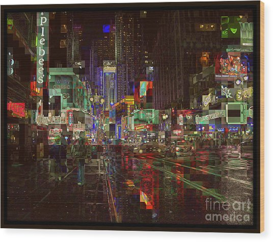 Times Square At Night - After The Rain Wood Print