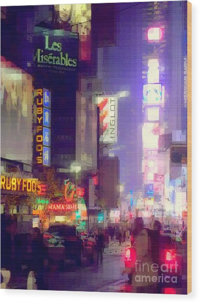 Times Square At Night - Columns Of Light Wood Print