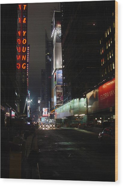 Times Square From 7th Ave Wood Print