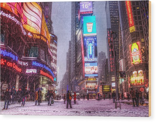 Times Square In The Snow Wood Print by Zev Steinhardt