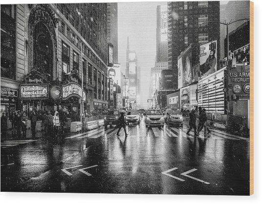 Times Square Wood Print by Jorge Ruiz Dueso
