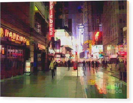 Times Square New York - Nanking Restaurant Wood Print