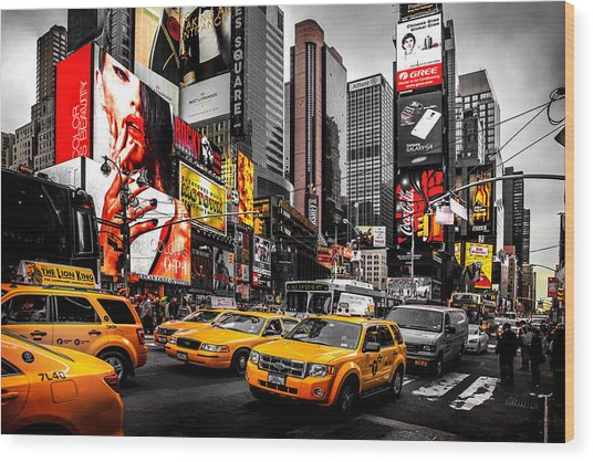 Times Square Taxis Wood Print