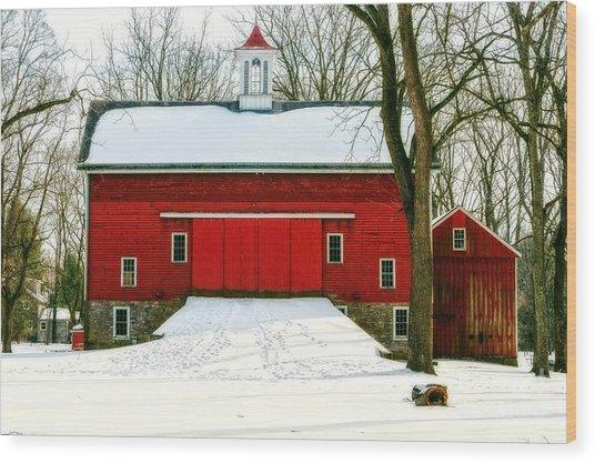 Tinicum Barn In Winter II Wood Print