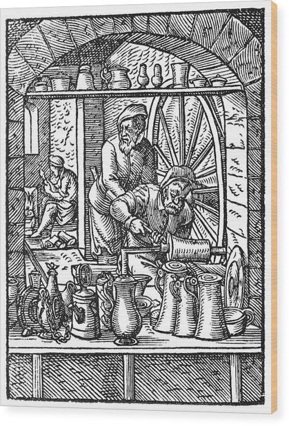 Tinsmiths, Artwork Wood Print by Science Photo Library
