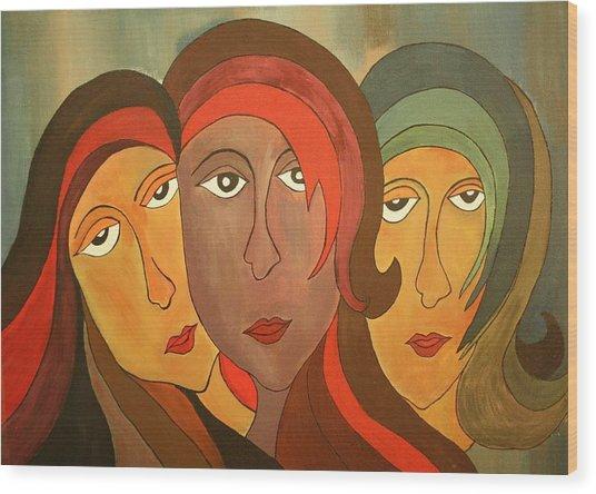 Tinted Girls Wood Print by Remya Damodaran