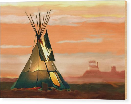 Tipi Or Tepee Monument Valley Wood Print